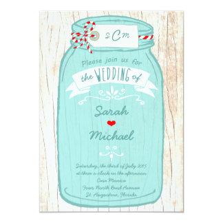 Red & Mint Mason Jar Wedding 13 Cm X 18 Cm Invitation Card