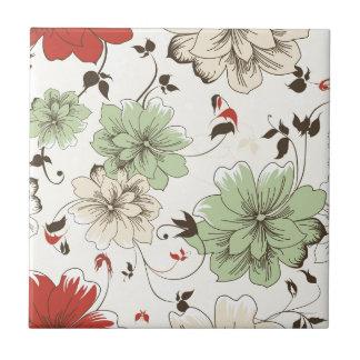 Red Mint White Floral Pattern Flower Ceramic Tiles