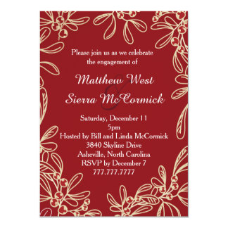 """Red Mistletoe Holiday Engagement Party 4.5"""" X 6.25"""" Invitation Card"""