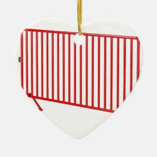 Red mobile fence ceramic ornament