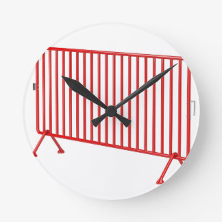 Red mobile fence round clock