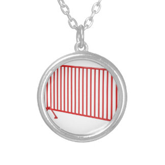 Red mobile fence silver plated necklace