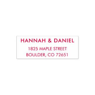 Red Modern Chic Wedding Return Address Stamp