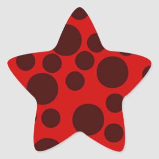 Red Modern Dots Pattern Star Sticker