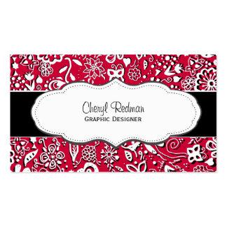 Red Modern Floral Doodle business cards