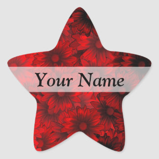 Red modern floral pattern star stickers