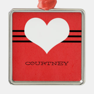 Red Modern Heart Ornament