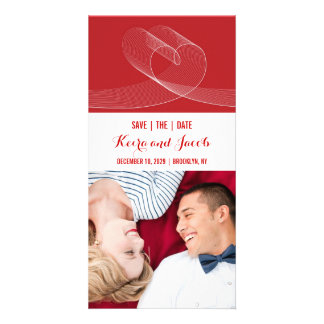 Red Modern Loopy Love Lines Wedding Save The Date Customized Photo Card