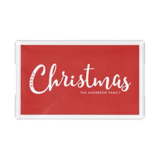 RED | Modern Merry Christmas Acrylic Tray
