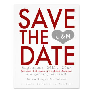 Red Modern Save the Date Announcements