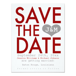 "Red Modern Save the Date 4.25"" X 5.5"" Invitation Card"