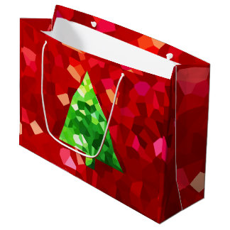 Red Modern Stained Glass Holiday Christmas Tree Large Gift Bag