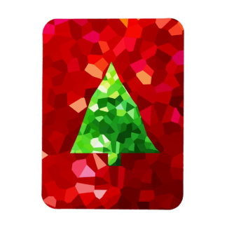 Red Modern Stained Glass Holiday Christmas Tree Magnet