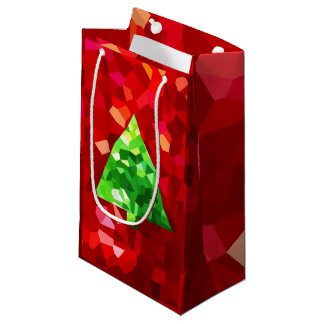 Red Modern Stained Glass Holiday Christmas Tree Small Gift Bag
