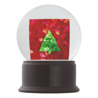 Red Modern Stained Glass Holiday Christmas Tree Snow Globe