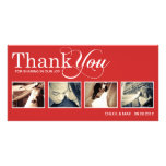 RED MODERN THANKS | WEDDING THANK YOU CARD PICTURE CARD