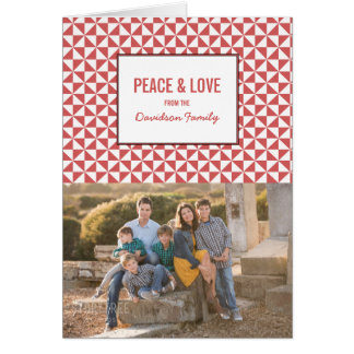 Red Modern Triangles Holiday Photo Card
