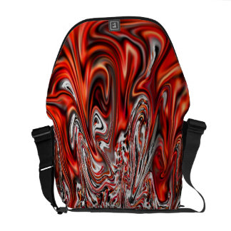 Red Molten Lava Travel Commuter Messenger Bag