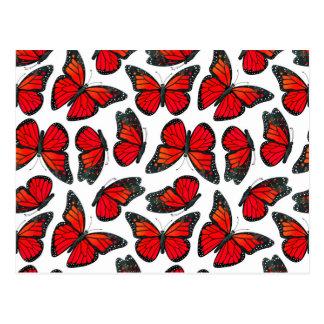 Red Monarch Butterfly Pattern Postcard