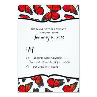 Red Monarch Butterfly Wedding RSVP 9 Cm X 13 Cm Invitation Card