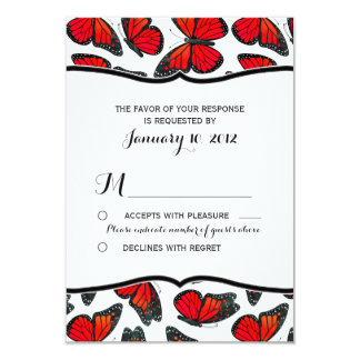 Red Monarch Butterfly Wedding RSVP 3.5x5 Paper Invitation Card