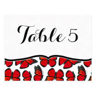 Red Monarch Butterfly Wedding Table Number Postcard
