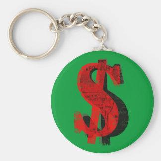 Red Money Basic Round Button Key Ring