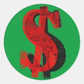 Red Money Round Sticker