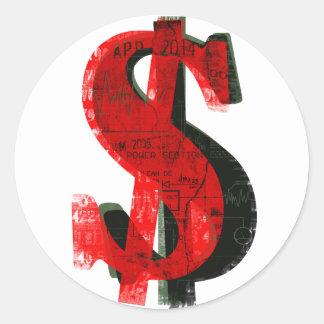 Red Money Round Stickers