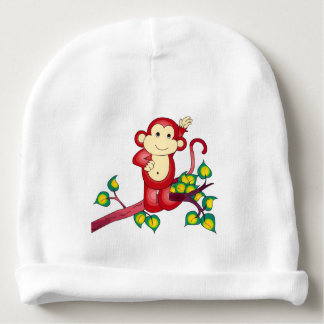 Red Monkey Animal Baby Beanie
