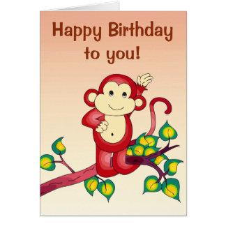 Red Monkey Animal Birthday Greeting Card
