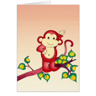 Red Monkey Animal Blank Card