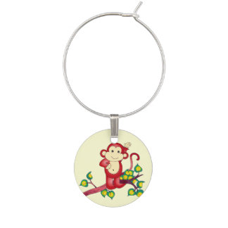 Red Monkey in Leafy Tree Branches Wine Charm