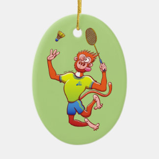 Red monkey playing badminton ceramic oval decoration