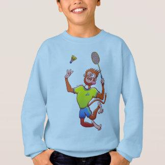 Red monkey playing badminton sweatshirt