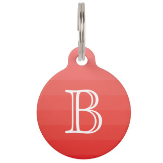Red Monochromatic Shades Stripes Monogram Initial Pet ID Tag