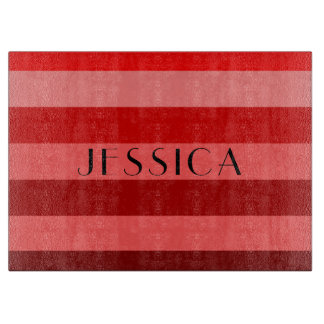 Red Monochrome Striped Pattern With Name Print Cutting Board