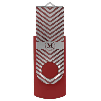 Red Monogram & Chevrons 2 - USB Swivel Flash Drive