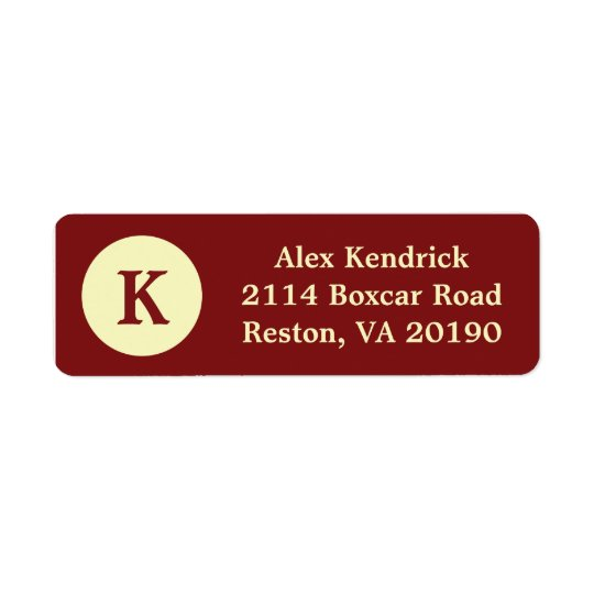 Red Monogram Dot Address Labels