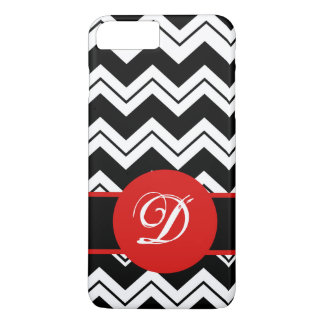 Red Monogram Initial Black  White Chevron ZigZag iPhone 7 Plus Case