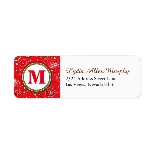 Red Monogram Paisley Pattern Return Address Label