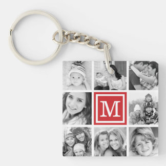 Red Monogram Photo Collage Single-Sided Square Acrylic Key Ring