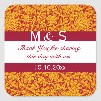 Red Monogram Thank You Wedding Favors Square Sticker