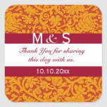 Red Monogram Thank You Wedding Favours Square Sticker