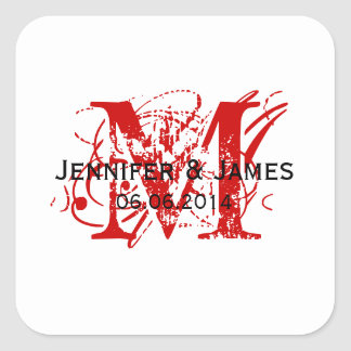 Red Monogram Wedding Favour Stickers