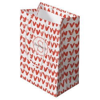 Red Monogrammed Hand Painted Hearts Pattern Medium Gift Bag