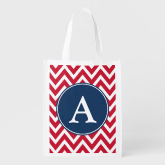 Red Monogrammed Reusable Grocery Bag Tote Gift