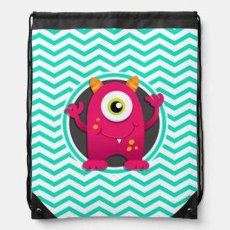Red Monster; Aqua Green Chevron Cinch Bag