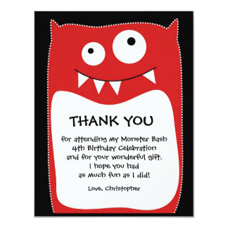 Red Monster Bash Thank You Card (Flat) 11 Cm X 14 Cm Invitation Card