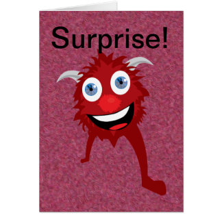 Red Monster Cartoon Greeting Card
